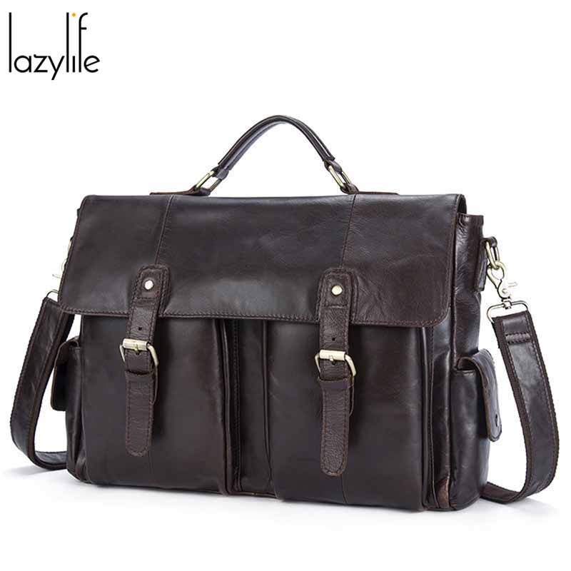 LAZYLIFE Business Men Laptop Briefcases Bag Men's Genuine Leather Bag For Male Briefcases Document Bags Men Leather