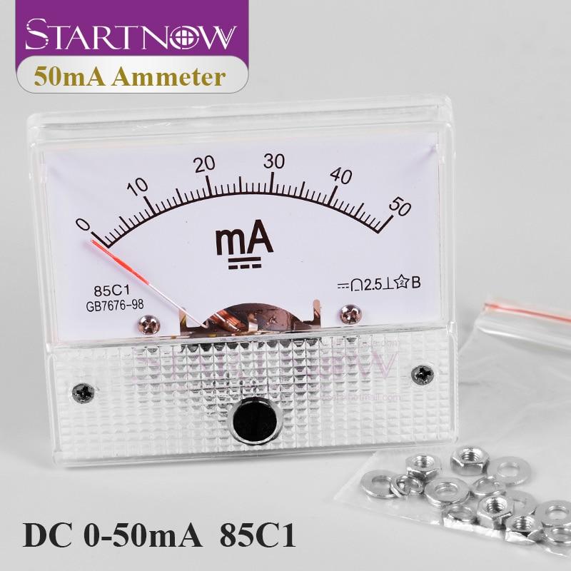 85C1 DC Analog Amperemeter 0 50mA Pointer Current Voltage Meter Gauge AMP Milliammeter Panel For CO2 Laser Tube Power Supply|Current Meters| |  - title=