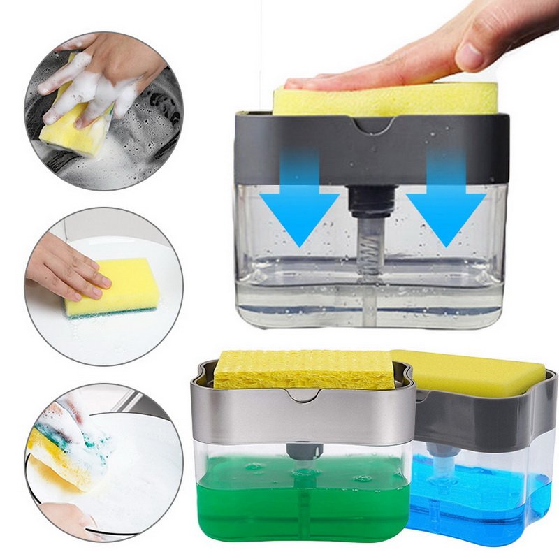 Soap Pump Dispenser With Sponge Holder Cleaning Liquid Dispenser Container Manual Press Organizer Kitchen Cleaner Tool ABS
