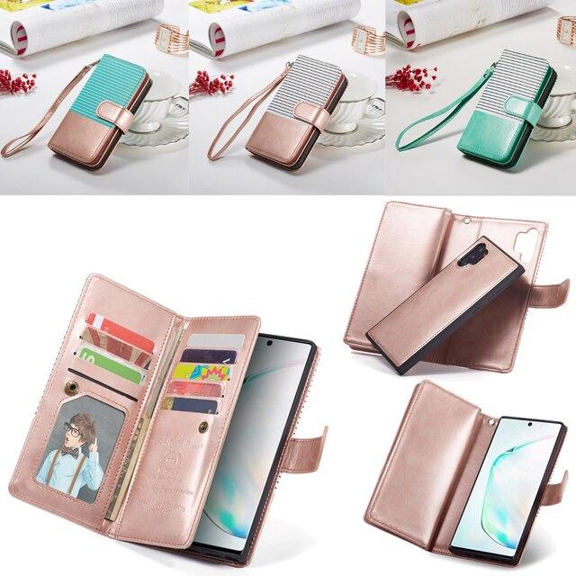 9 カードホルダー財布三星銀河注 10 プラス注 9 S10 S9 S8 プラス S10E フリップ革取り外し可能な磁気電話ケース