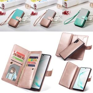 Image 1 - 9 karte Halter Brieftasche Fall für Samsung Galaxy Note 10 Plus Hinweis 9 S10 S9 S8 Plus S10E Flip Leder abnehmbare Magnet Telefon Fall