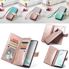 9 portfel z saszetką na karty etui do Samsung Galaxy Note 10 Plus uwaga 9 S10 S9 S8 Plus S10E odwróć skórzany odpinany magnetyczny futerał na telefon
