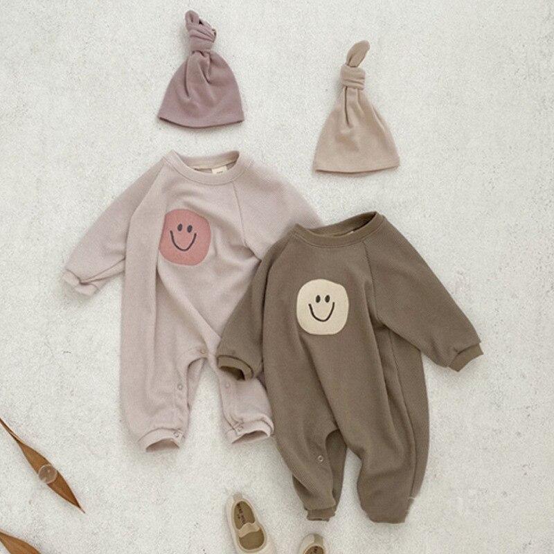 1260.0¥ 55% OFF|2021 Newborn Infant Baby Boy Cotton Cartoon Smiley Face Pattern Full Romper Spring ...