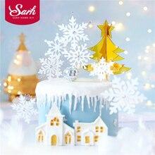 Романтические белые Серебряные Снежинки коллекция Топпер для торта десерт украшения на день рождения прекрасные подарки Рождественские принадлежности