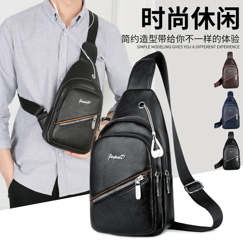 2018 Winter New Style Men Chest Pack Shoulder Bag Pu Waterproof Wearable Bag Briefcase Fashion Bag