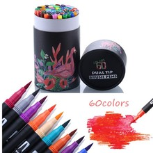 60PCS Color Art Marker Pens FineLiner Dual Tip Brush Pens Watercolor Art Marker for Drawing Painting Calligraphy School Supplies