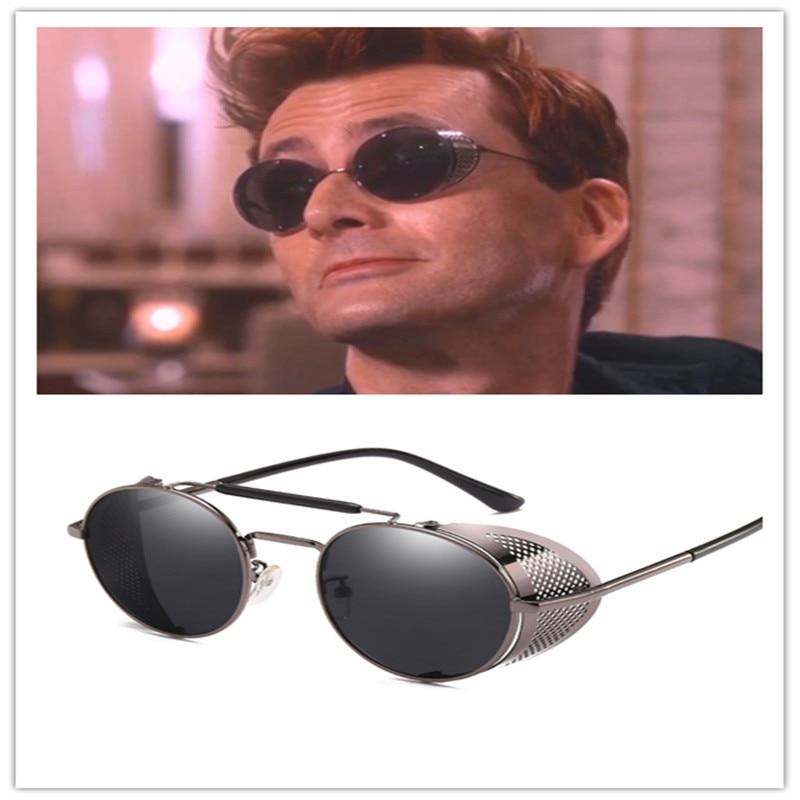 Good Omens Demon Crowley Cosplay Eyewear Glasses Steampunk Glasses Sunglasses  Retro Color Film Reflective High Quality Mirror