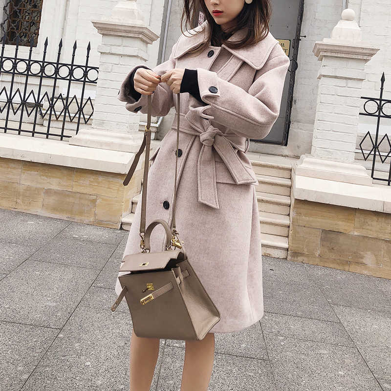 MISHOW 2019 autumn winter woolen coat causal women turndown collar Single-breasted with belt thick coat MX18D9657