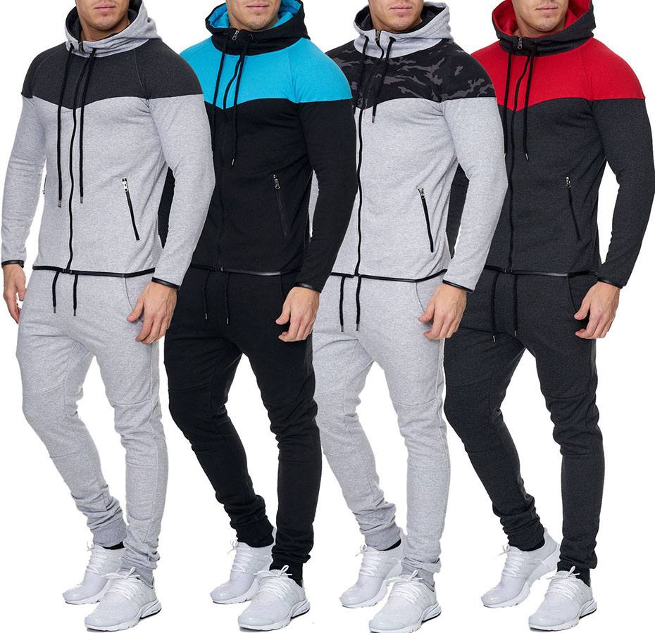 ZOGAA Causal Tracksuit Men Zipper Patchwork Sweatsuits Autumn Winter Male Hooded Sweatshirt + Drawstring Sweatpants 2 Pieces Set