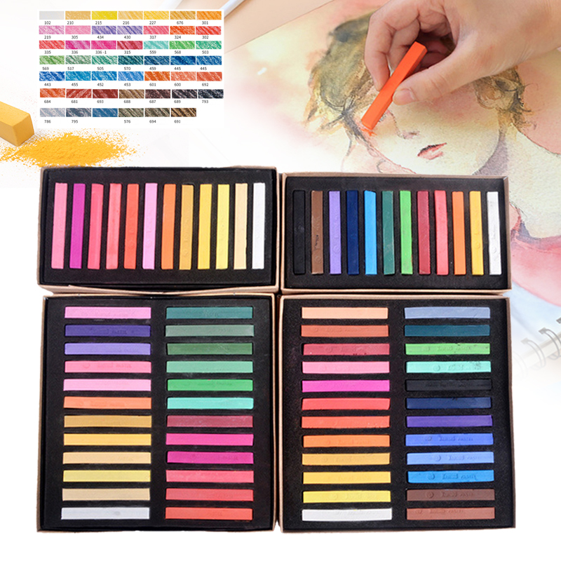12/24/36/48 Colors Soft Pastels Square Chalk Gift Crayon Pastels Solid Color Painting Supplies Gift For Children Kids Drawing