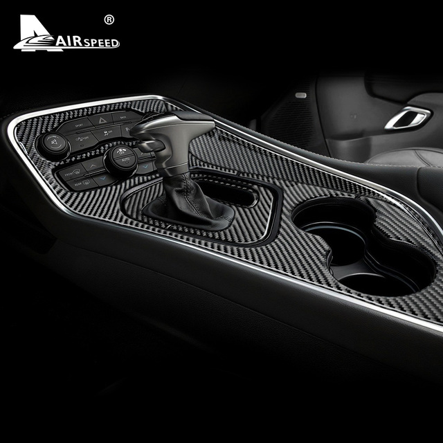 AIRSPEED Carbon Fiber for Dodge Challenger 2015 2016 2017 2018 2019 2020 Accessories Interior Car Gear Shift Panel Cover Sticker 3
