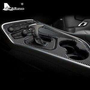 Image 3 - AIRSPEED włókna węglowego dla Dodge Challenger 2015 2016 2017 2018 2019 2020 akcesoria wnętrza samochodu Panel zmiany biegów naklejka na pokrywę