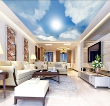 Ceilings mural blue sky  white clouds sunlight Mural Paintings Living Room Ceiling Wallpaper beibehang blue sky and white clouds wallpapers house interior decoration living room ceiling entrance 3d photo wallpaper mural