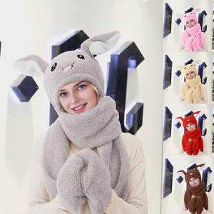Cute 3 IN 1 Hat Glove Scarf Can Move Airbag Magnet Cap Plush Dance Rabbit Ear  Cute Women's Girl's Hat Warm Collar Set Wholesale