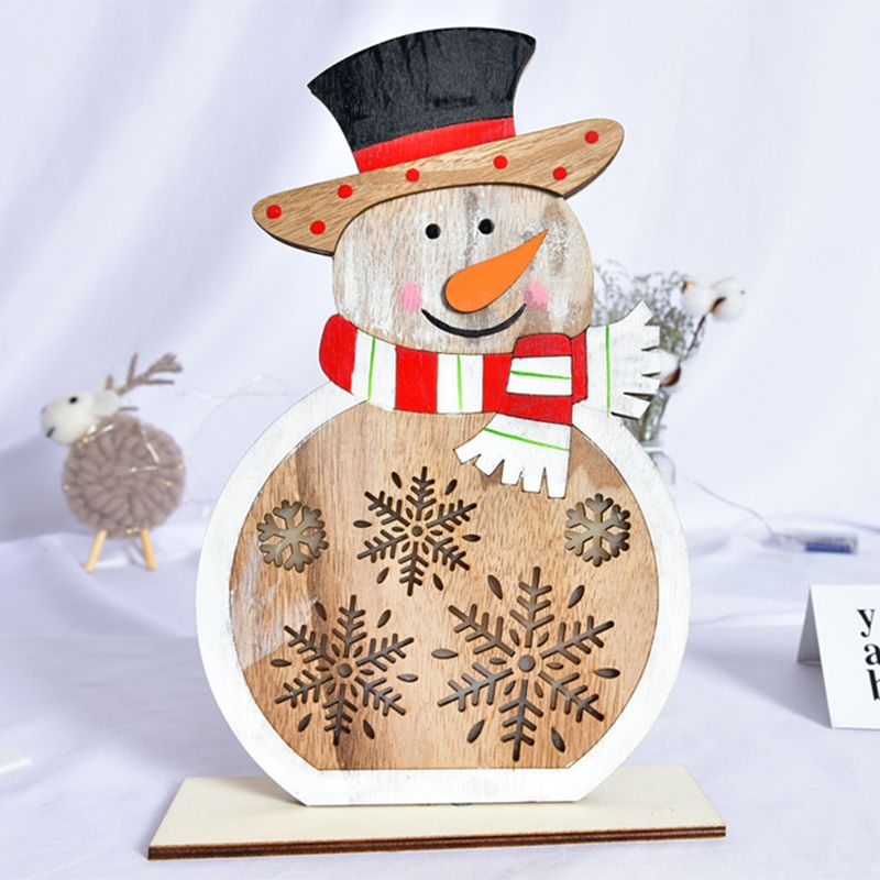 Wooden House Snowman Santa Claus Christmas Tree Ornaments With LED Light Desk Table Party Home Decor