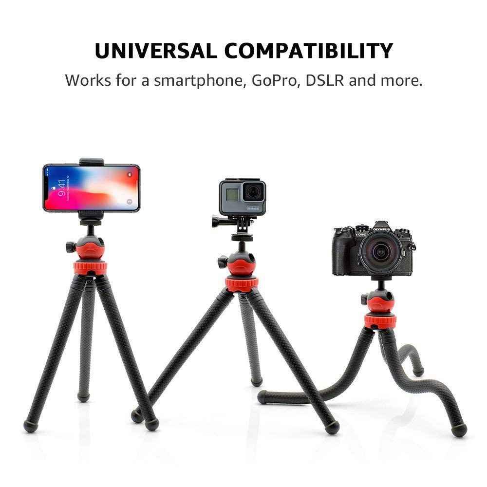 AMS-Flessibile Testa A Sfera Treppiedi per il iPhone, Telefono Android, GoPro, DSLR Della Macchina Fotografica e di Più, incluso Universale Per Smartphone Pinza e Andare