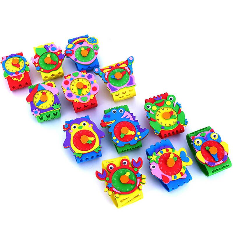 جديد لتقوم بها بنفسك ثلاثية الأبعاد إيفا رغوة الحرفية ملصق ساعة اليدوية على مدار الساعة تعلم الاطفال رياض الأطفال ألعاب تعليمية لتقوم بها بنفسك اللعب