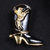 RINHOO Antique Women Gold-plated Alloy High Heel Shoes Brooch Pins Ladies Retro Party Bouquet Brooch Jewelry Clothing Accessory