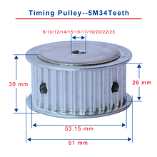 5M34Teeth timing pulley bore 8/10/12/14/15/16/17/19/20/22/25mm pulley teeth pitch 5mm slot width 26mm for width 25mm timing belt 60 40 30 20 teeth htd3m pulley wheel and closed belt 264 276 294 318 for 25mm width in a pack