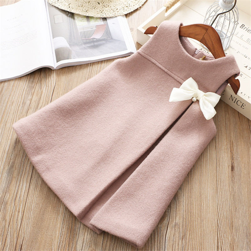 1-6 years High quality 2019  new fashion casual solid warm sleeveless children girl clothing kid princess girl dress