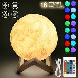Светодиодный ночной Светильник 3D печать Луны лампа Перезаряжаемые Цвет изменения 3D светильник сенсорный лунный светильник пульт дистанци...