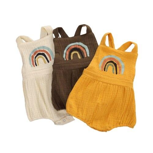 Симпатичный комплект для новорожденной девочки, платье с радугой для маленьких комбинезон с принтом для младенцев Одежда для детей ясельного возраста Детские подтяжки комбинезоны