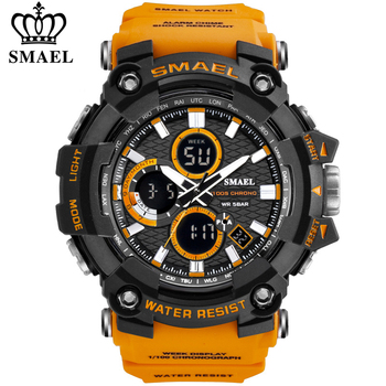 SMAEL 1802 Sports Men's Watches Top Brand Luxury Military Quartz Watch Men Waterproof Shock Male Digital Clock Relogio Masculino double time zone swim men sports watch digital calendar quartz wrist watches waterproof 50m military clock relogio masculino