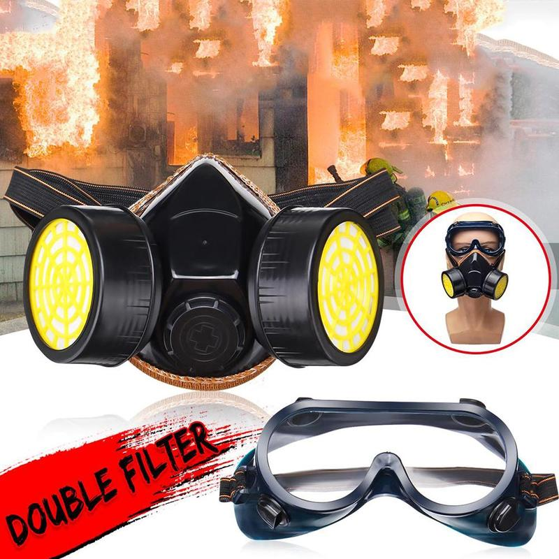 Super Antibacterial Full Face Mouth Mask Double Tube Activated Carbon Eye Masks Black Two-piece AntiPollution Gas Respirator Set