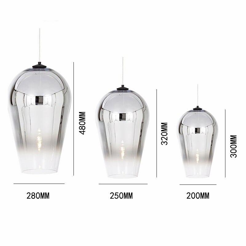 Nordic Glass Pendant Lamp Dixon Loft Decor Electroplate Gradient Fade LED Pendant Lights Bedroom Luminaire Kitchen Hanging Lamps