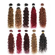 Fasci di capelli umani ad onda dacqua 8 26 pollici brasiliani Ombre biondi fasci di tessuto per capelli rossi 1PC trama di estensione dei capelli Non Remy SOKU