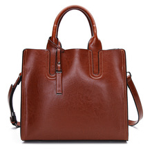 2020 Wax Oil Cowhide Single Shoulder Messenger Leisure Time Portable Woman Genuine Leather Child Mother Bag