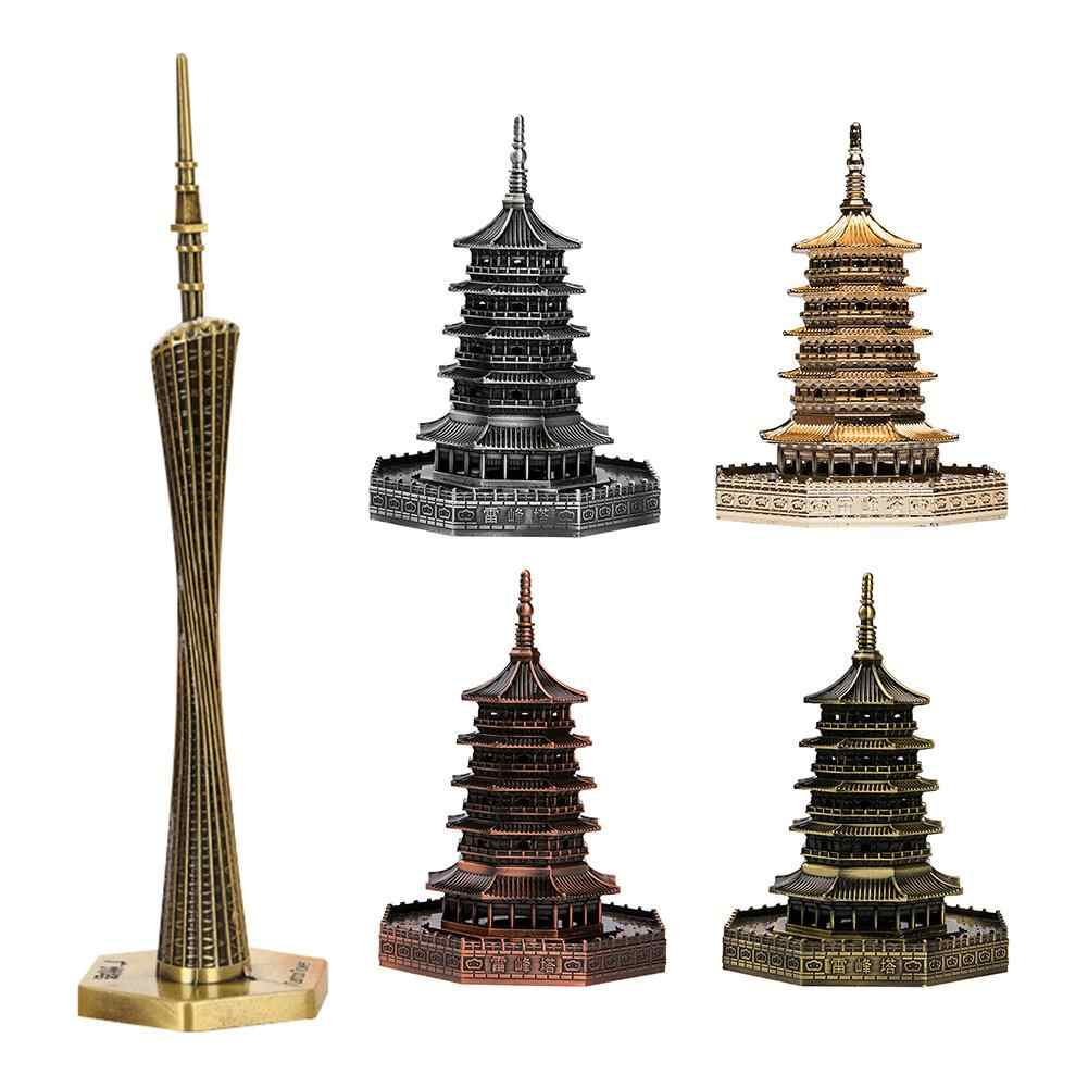 Metalen Architectuur Beroemde Landmark Building Standbeeld Beeldjes Desktop Ornament Miniaturen Home Office Bibliotheek Decor Figurine