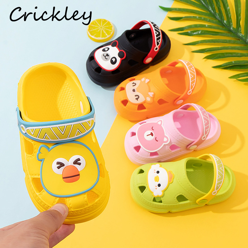 Summer Kids Toddler Hollowing Out Garden Shoes For Baby Boys Girls High Quality Croc Shoes Non Slip Cartoon Children Slippers