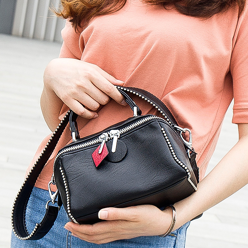 Fashion Rivet Tote Bag Lady Sheepskin Leather Shoulder CrossBody Bags For Women Messenger Bags Women's Genuine Leather Handbags