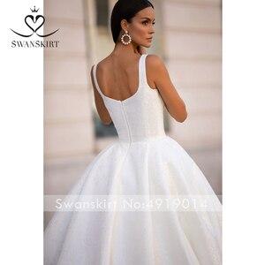 Image 4 - SWANSKIRT Shiny Lace Satin Abito Da Sposa 2020 Classic Piazza Colletto Senza Maniche A Line Principessa Vestido de novia I302 Abito Da Sposa