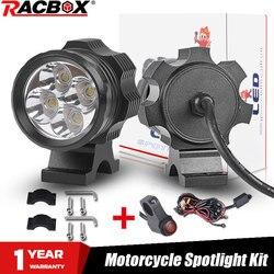 Para Led reflektor motocyklowy reflektor motocyklowy lampa do jazdy 40W biały Super jasny 4Led chipy 4000lm akcesoria motocyklowe