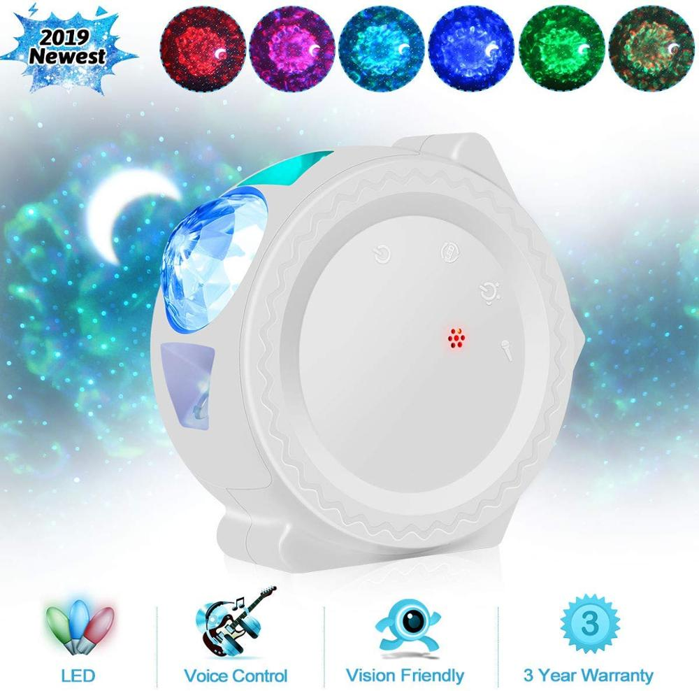 Starry Sky Projector Star Night Light Projection 6 Colors Ocean Waving Lights 360 Degree Rotation Night Lighting Lamp For Kids