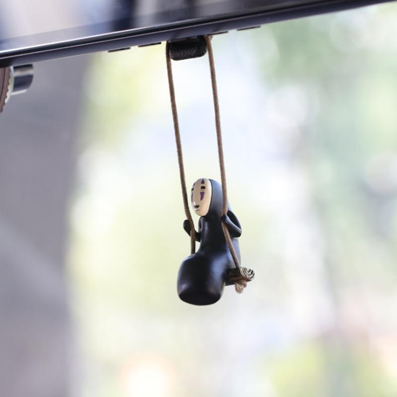 Nette Anime Auto Ornamente Gesichtslosen Männliche Katze Anhänger Auto Rückspiegel Anhänger Geburtstag Geschenk Auto Decoraction Zubehör Coche