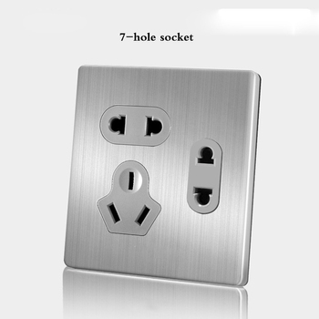 86 Type wall switch panel Five hole socket with switch Brushed Stainless steel 5-hole socket Household 1 2 3 4Gang 1 2Way switch 21