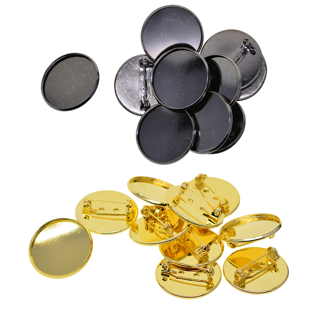 20 Brooch Pin Base Blank 25mm Round Cabochon Tray For Badge,Corsage,Name Tag
