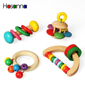 Wooden Baby Rattles Grasp Play Game Teething Infant Early Musical Educational Toys for Children Newborn 0-12 months Gift image