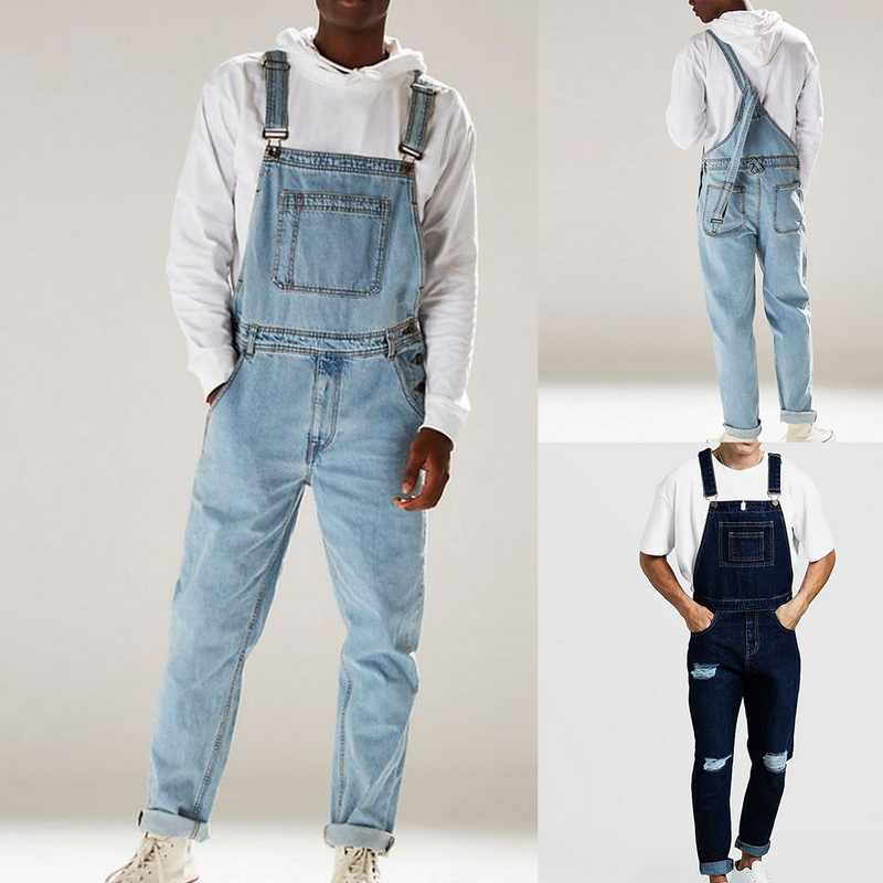 Men's Fashion Holes Distressed Slim Fit Stretch Jeans Mens Denim Bib Overall Jumpsuits Casual Straight Loose Jeans 2019 New