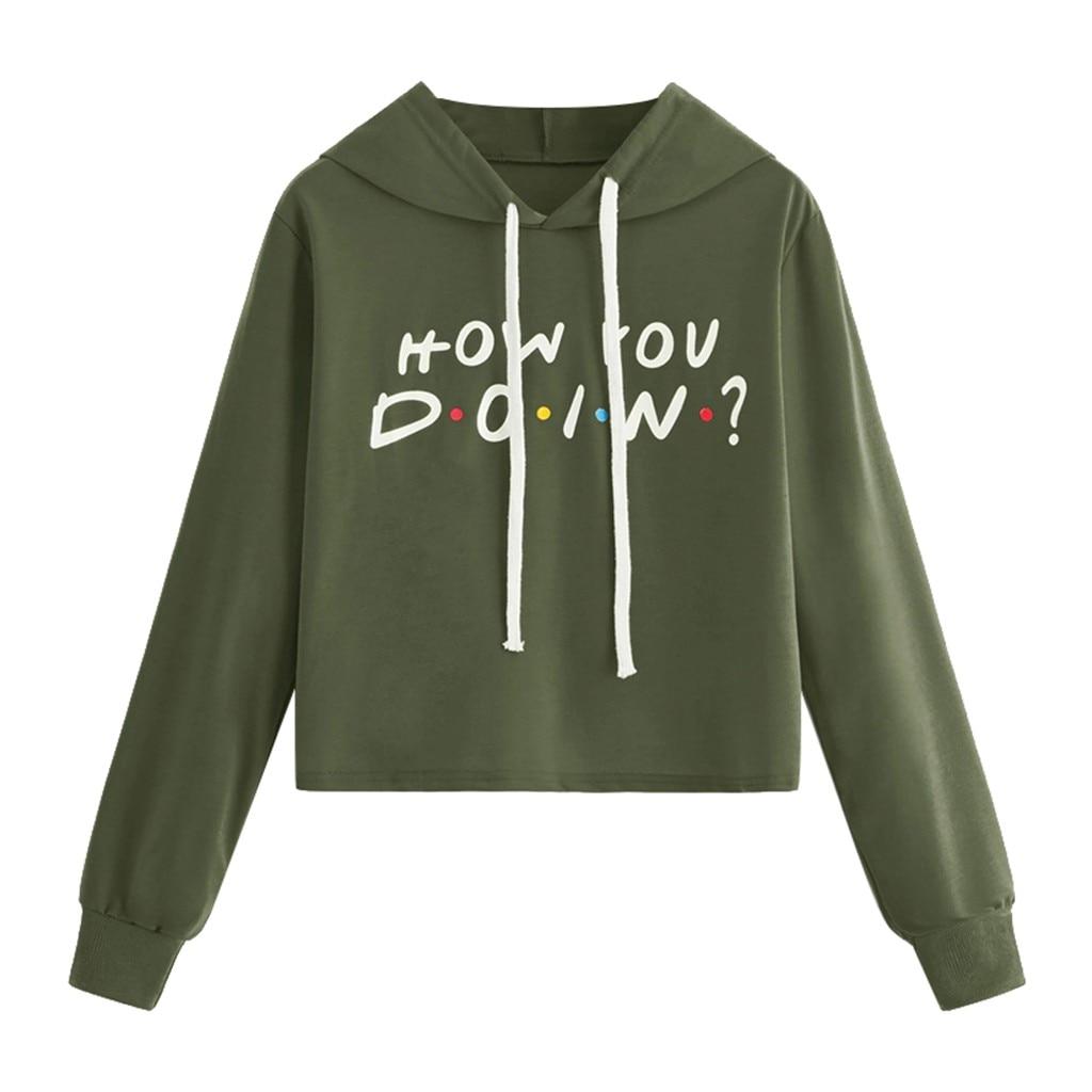 Women hoodies Casual harajuku Crop Long Sleeve Letter Print Pullover Jumper Tops moletom feminino inverno sweatshirt