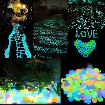 300 sztuk świecące w ciemności otoczaki do ogrodu blask kamienie skały do ogrodu chodnik doniczka akwarium wystrój ogrodu kamień świecący tanie i dobre opinie Żywica Dark Garden Pebbles Glow Stones Luminous Stones Garden Decoration Stones Garden Yard Decor Luminous Stone