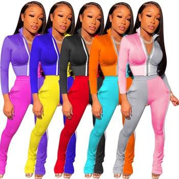 Echoine Autumn WInter Patchwork Print Zipper Jacket Top and pants Two Piece Set Women Tracksuit Fashion Party Club Outfits