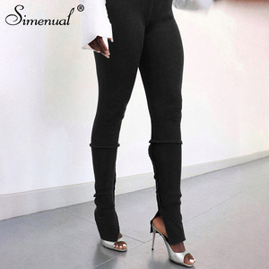 Simenual Solid Bodycon Side Split High Waist Pencil Pants Fall 2020 Women Clothing Sporty Casual Workout Active Wear Trousers