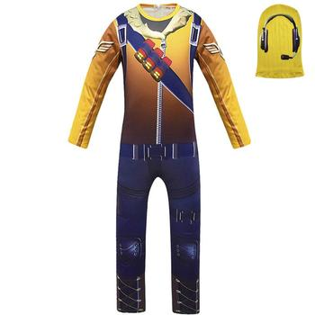 Game Kids Child Battle Royale Raptor Legend Skin Cosplay Costumes Royal Pilot Jumpsuits Zentai Mask Party Halloween Suit 2