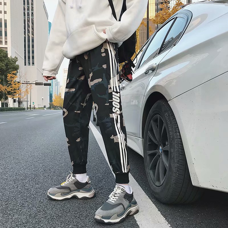 Mens Joggers Spring Summer Mens Pants Fashion Skinny Sweatpants Striped Slim Fitted Track Pants Gyms Clothing Harem Pant