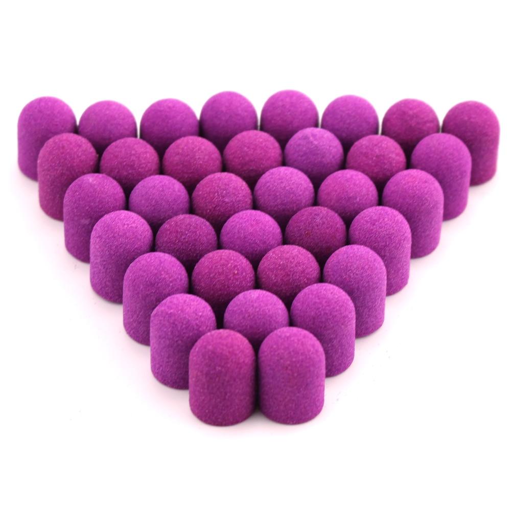 50pcs 13*19mm Plastic Sanding Caps Purple Nail Drill Rubber Milling Cutter Foot Cuticle For Manicure Pedicure Accessories