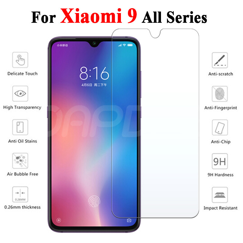 9H Tempered Glass On The For Xiaomi Mi 9 8 SE 9T CC9 CC9E A3 A2 Lite Play Pocophone F1 Screen Protector Safety Protective Film